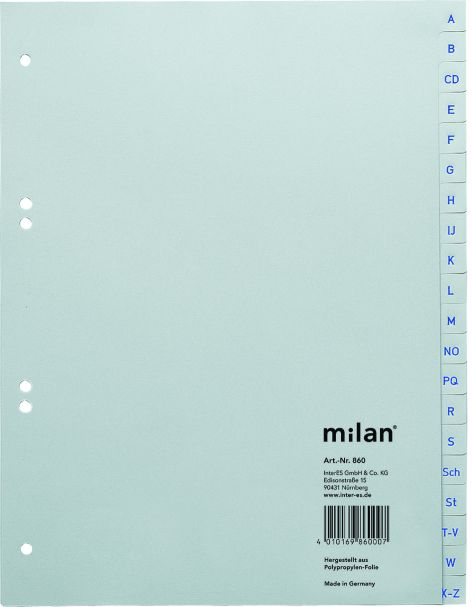 Kunststoff-Register Milan