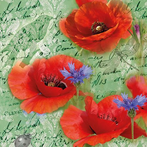 Serviette Painted Poppies
