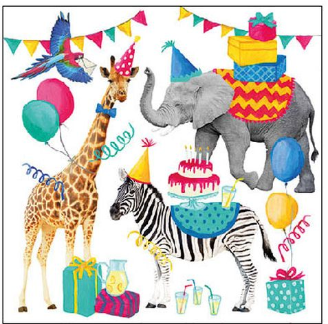Serviette Animal Birthday