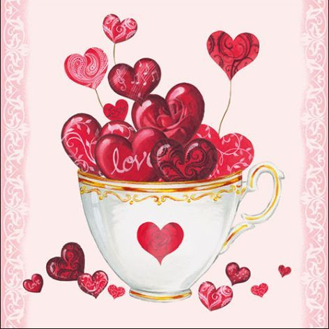 Serviette Cup of Hearts