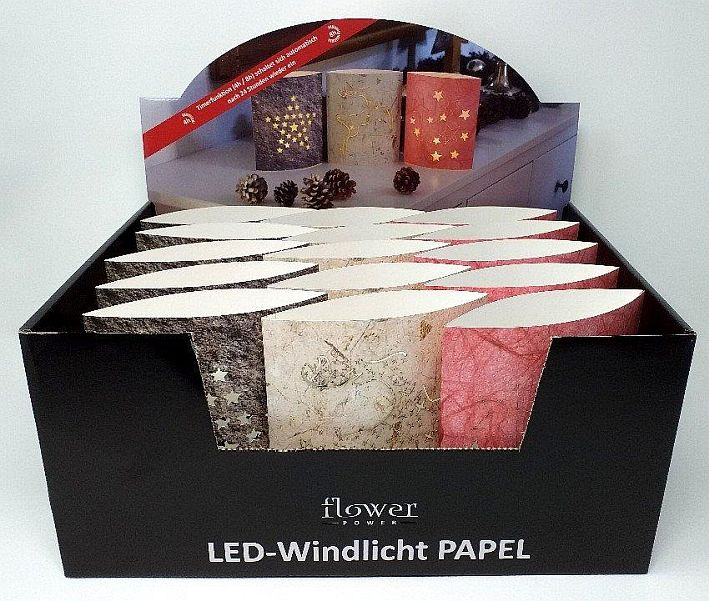 Windlicht Papel LED